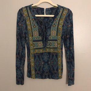 Free People boho lace up long sleeve blouse
